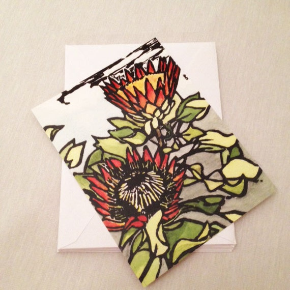 King Protea Set of 6 Note Cards
