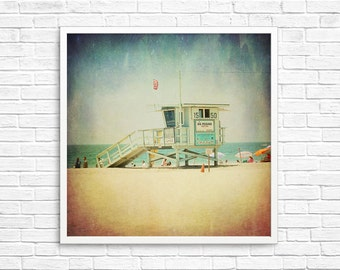 BUY 2 GET 1 FREE Santa Monica Print, California Photography, Beach Print, Lifeguard Hut, Ocean, Wall Decor, California - Vintage Venice