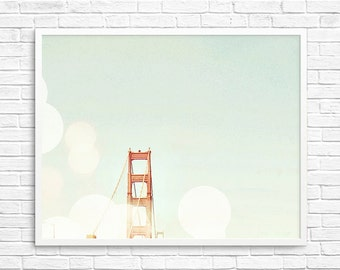 BUY 2 GET 1 FREE San Francisco Photo, Fpoe, Golden Gate Bridge Photo, Orange Bridge, Bokeh, Wall Decor, Shabby Chic - Orange Top