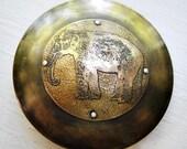 Elephantine Elephant Riveted Round Belt Buckle  - Acid Bath Series