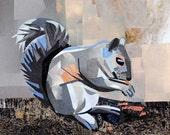 Squirrel! 5x7 inch ORIGINAL COLLAGE ART