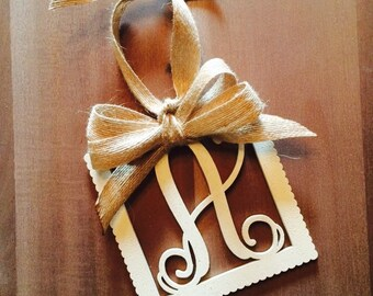 Square Wooden Initial Christmas Ornament with Burlap Ribbon