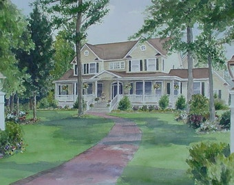 CUSTOM WATERCOLOR HOUSE Portrait, by Suzanne Churchill, Cherished First Home Gift, Parents Gift, Moving Gift or Realtor Closing Gift.