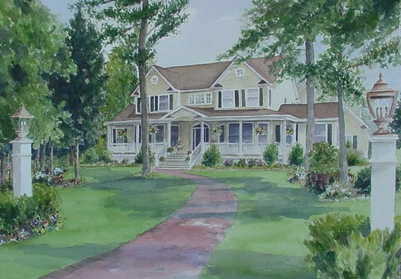 Custom House, Home Portrait by Suzanne Churchill, Watercolor or Pen & Ink, Perfect Realtor Closing, Housewarming, Wedding or New Home Gift