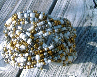 Nepthys Silver Copper Woven Multi Strand Beaded Bracelet Cuff