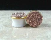 """Copper Rose Gold Round Druzy Drusy Plugs Gauges in Gold Bezel Setting in 5/8"""", 16mm Wedding Bridal Bridesmaid"""