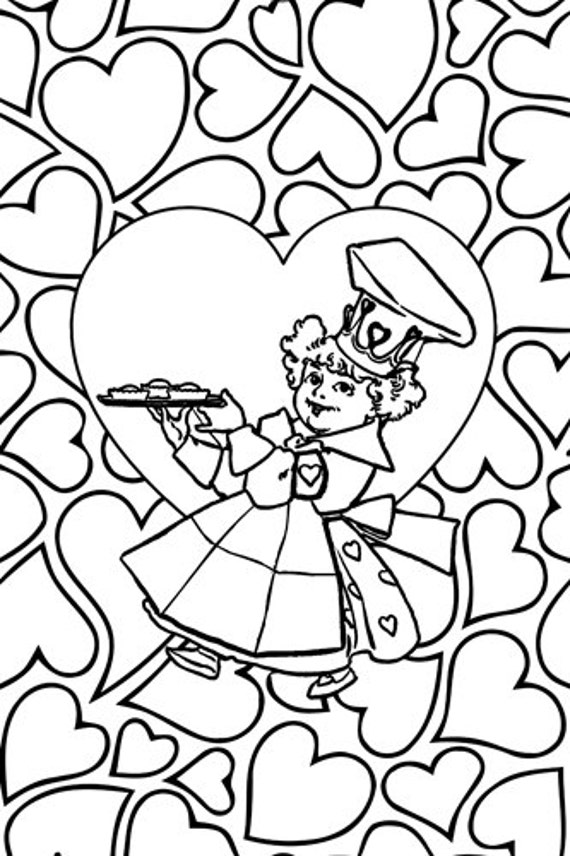 Queen of Hearts printable coloring page for adults and kids mother goose digital coloring nursery rhyme fairytale line art printable art
