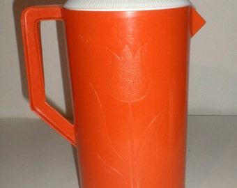 Vintage Drink Pitcher - Orange Plastic Pitcher - Tulip Design - 2 Quart Pitcher - Juice Pitcher - Orange Tulip Pitcher