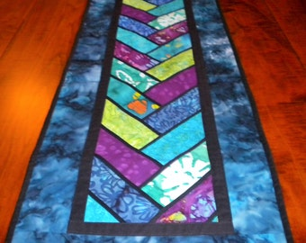 "Stained Glass Patchwork Quilted Table Runner 64"" x 14"""