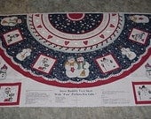 Preprinted Fabric Panels--SNOW BUDDIES--Christmas Tree Skirt--With Pockets For Gifts--Dianna Marcum--2 Panel Set