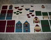 Preprinted Fabric Panel--Backyard Friends And Neighbors--Birdhouses--Folk Art Birds--By Leslie Beck--Cranston Print Works