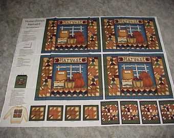 Preprinted--Fabric Panel--For Fall--Autumn--Home Grown Harvest--Leslie Beck--For Placemats--Napkin Rings--Coasters--Colorful