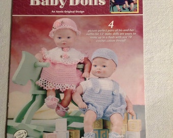 """Annie's Attic--CROCHET--Twin Baby Dolls--Crochet Pattern Book--4 Pairs Of His/Hers Outfits--For 12"""" Baby Dolls"""