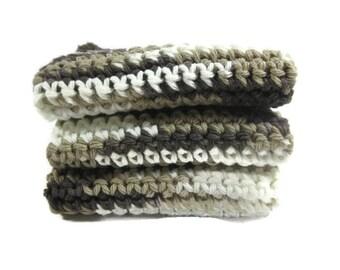 Chocolate Milk Shake Crochet Cotton Dish Cloth Wash Cloth Set of Three