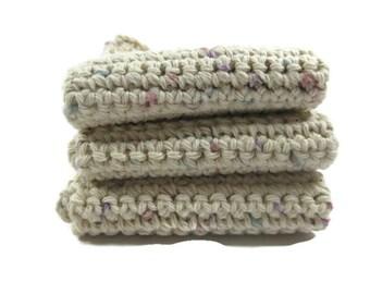 Pastel Confetti  Crochet Dish Cloth Wash Cloth Set of Three