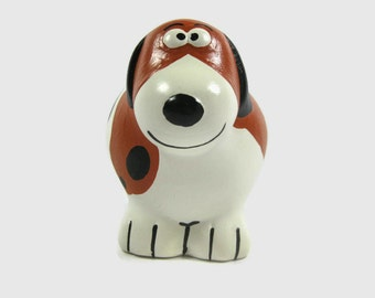 Scooter the Dog Bank Hand Painted Ceramic Dog Piggy Bank