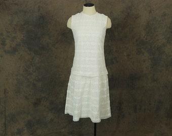 vintage 60s Dress - 1960s White Lace Dropwaist Dress Sz M