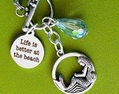 SANDY BEACH mermaid necklace, Life is Better at the Beach pendant, ocean water