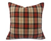 Tan Plaid Pillow Cover, Plaid Throw Pillows, Autumn Colors, Camel, Dark Brown, Orange Red, Modern or Country Lodge Decor, 18x18, 20x20