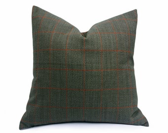 Sage Green Pillow, Mens Accent Pillows, Classic Window Pane Plaid Throw Pillow, Wool Cushion Cover, Menswear Inspired Decor, 18x18