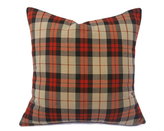 Tan Plaid Pillow Cover Plaid Throw Pillows by PillowThrowDecor