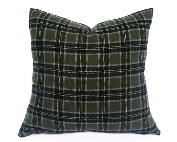 Sage Green Plaid Pillow Grey Green Throw Pillow Rustic Lodge