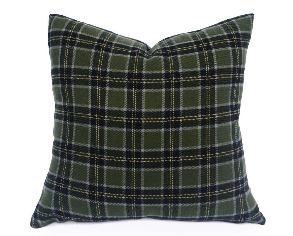 Throw Pillows For Sage Green Couch : Sage Green Plaid Pillow Grey Green Throw Pillow Rustic Lodge