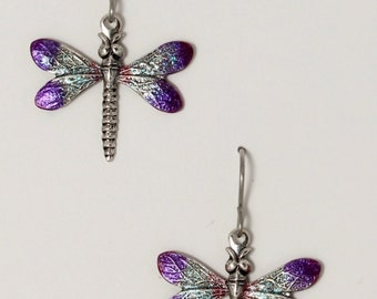Enameled  silver dragonfly earrings