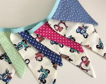 Scooter Bunting / Fabric Garland, - mixed size flags, 11 flags Decoration, Photo Prop