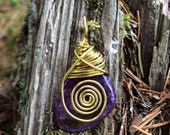 Brass Spiral Wire Wrapped PURPLE AGATE Crystal Pendant - Metaphysical - Energy - Magick - Reiki - Chakras - Spiritual - Pagan - Wiccan