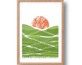 Screen Print - 'Green Fields'  Hand Pulled Screenprint