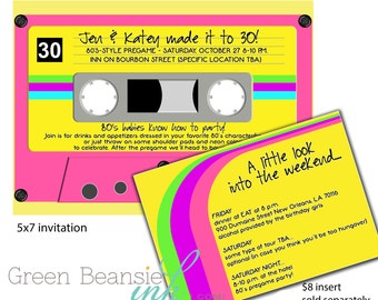 80's or 90's CASSETTE TAPE Printable Party Invitation Neon Colors - Printing Available