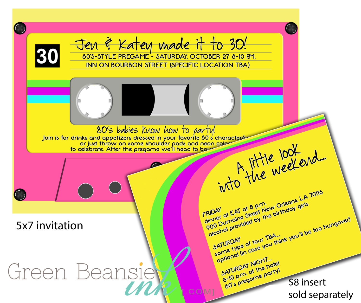 80\'s or 90\'s CASSETTE TAPE Printable Party Invitation