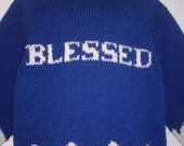 Handknit Sweater Cardigan Royal Blue, word BLESSED Knitted into sweater, Royal Blue, White writing, size 6 - 8