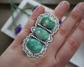 Broken Arrow Variscite Ring Size 8 Sterling Silver Hand Stamped Tri stone Ring