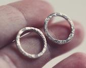 Textured hoop stud earrings - posts - etsymetal team