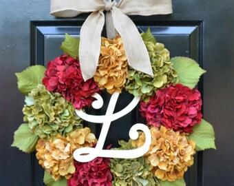 Fall Hydrangea Wreath, Hydrangea Fall Wreath, Fall Monogram Wreath, Fall Decor, Fall Decoration, Monogram Wreaths,  Fall Wedding Wreath