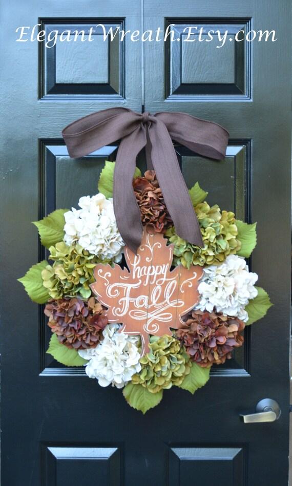 Fall Hydrangea Wreath, Hydrangea Fall Wreaths, Happy Fall Wreath, Fall Decor, Fall Decoration, Monogram Wreaths,  Fall Wedding Decor