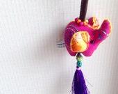 Elephant Keychain, Pink Elephant Key chain, fabric elephant, fabric keychain, bag decoration, plush elephant, fringe, colorful, children