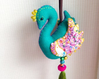 Bird Keychain, Green Bird Key chain, peacock, fabric animal, fabric keychain, bag decoration, plush bird, fringe, colorful, children, kid