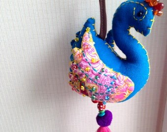 Blue Bird Keychain, Peacock, Bird Key chain, fabric animal, fabric keychain, bag decoration, plush bird, fringe, colorful, children, kid