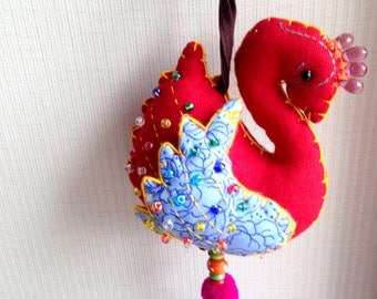 Red Bird Keychain, Peacock, Red Key chain, fabric animal, fabric keychain, bag decoration, plush bird, fringe, colorful, children, kid, girl