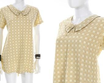 Vintage 1960s Micro Mini Sundress Tan Tie Waist Peterpan Collar Shirt Dress