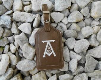 Luggage Tag--Bronze Tag Saxon Font