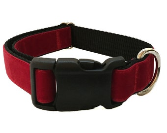 """1"""" Red Velvet Dog Collar"""