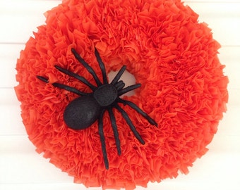 Halloween Wreath Orange Wreath Black Glitter Spider Indoor Outdoor Decoration Vinyl Rag Wreath Outdoor Halloween Decoration Spider Wreath