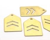 12 Raw Brass House Chevron Stamping Blanks 1 hole (25x15x0.80)   D321