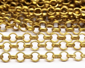 5 M. Raw Brass Open Link Rolo Chain , ( 4.7mm ) Bs 1019