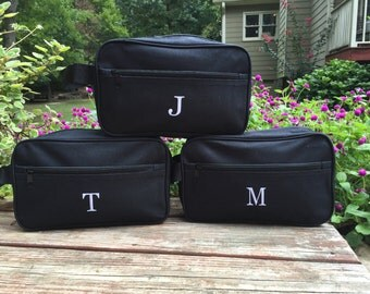 Mens Black Toiletry Bag with FREE personalization.  Groomsmen gift.