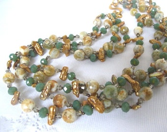 SALE Colorful Multi Strand Earth Green Stone and Golden Keshi Pearl Necklace,Southwestern Statement Necklace,Spanish Green Smoky Quartz
